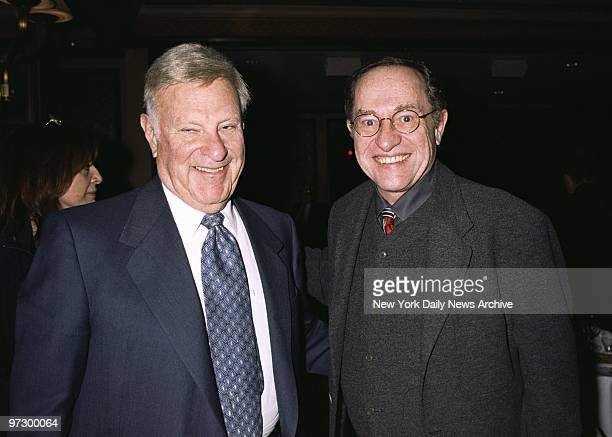New York Giants' Chairman Bob Tisch and lawyer Alan Dershowitz get together at an opening night party for Sally Kellerman at the Regency Hotel