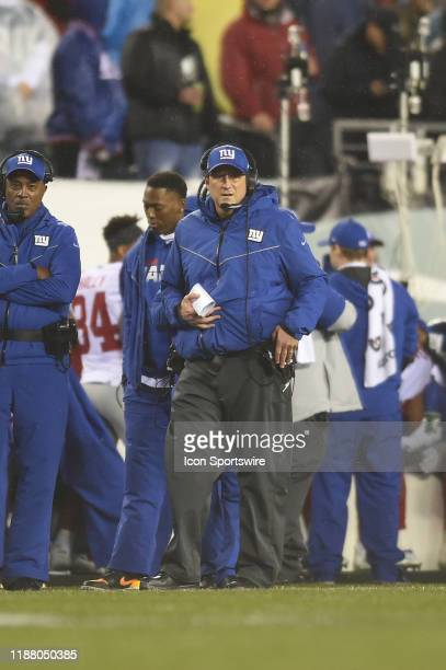 New York Giants coach Mike Shula looks on during the game between the New York Giants and the Philadelphia Eagles on December 9 2019 at Lincoln...