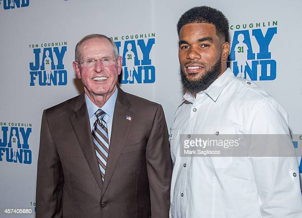 New York Giant's Coach Tom Coughlin and Quintin Demps attend Tom Coughlin's Jay Fund Foundation's Champions for Children Gala at Cipriani 42nd Street...