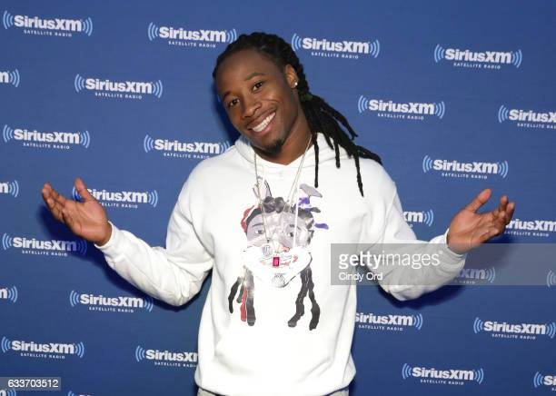 New York Giants cornerback Janoris Jenkins visits the SiriusXM set at Super Bowl LI Radio Row at the George R Brown Convention Center on February 3...