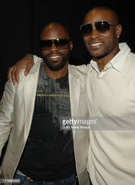 New York Giants Cornerback R.W. McQuarters and Model Tyson Beckford attend Custo Barcelona Fall 2008 during Mercedes-Benz Fashion Week at The...