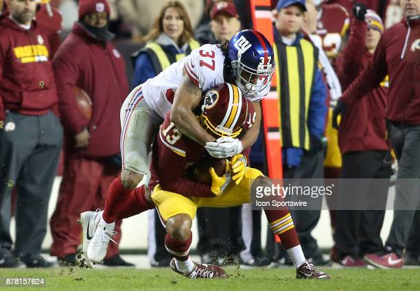 New York Giants defensive back Ross Cockrell covers Washington Redskins wide receiver Maurice Harris during a NFL game between the Washington...