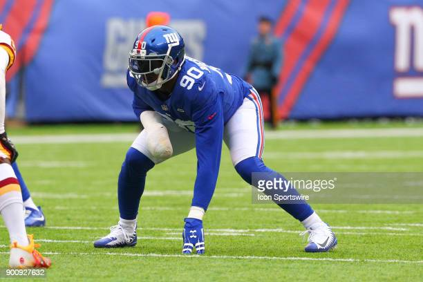 New York Giants defensive end Jason PierrePaul during the National Football League game between the New York Giants and the Washington Redskins on...