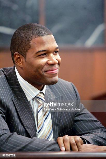New York Giants' defensive end Michael Strahan attends the last day of divorce proceedings with his estranged wife Jean at Essex County Family Court...