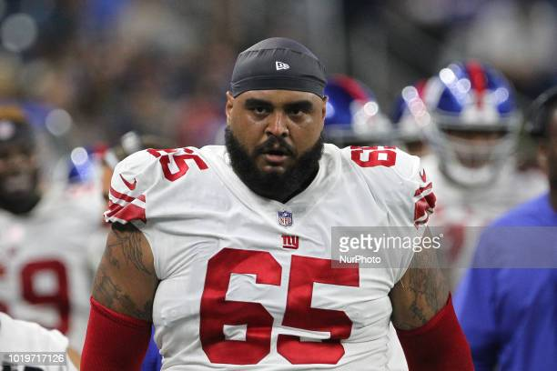 New York Giants defensive tackle AJ Francis on the sidelines during the second half of an NFL football game against the New York Giants in Detroit...