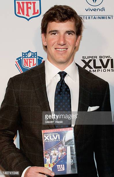 New York Giants' Eli Manning attends the Super Bowl XLVI Champions New York Giants 'Blue Carpet' VIP premiere at the Regal EWalk Stadium 13 on March...