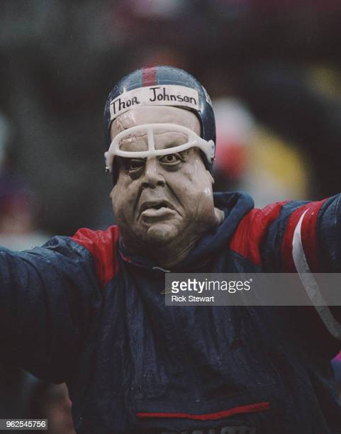 A New York Giants fans complete with a Tor Johnson mask of the Swedish professional wrestler and actor during the National Football Conference East...