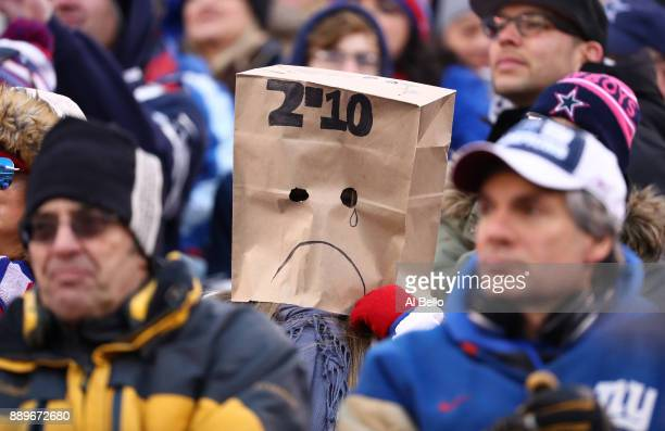 New York Giants fans look on during their 3010 loss against the Dallas Cowboys at MetLife Stadium on December 10 2017 in East Rutherford New Jersey