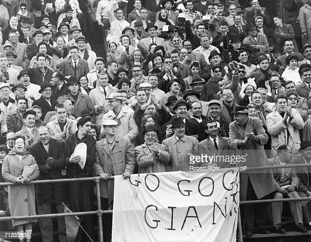 New York Giants fans show their support from the stands during a game late 1950s or early 1960s
