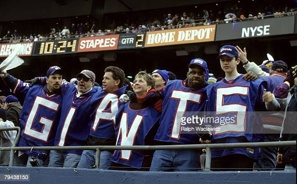 New York Giants fans support their team during the NFC Championship Game a 410 Giants victory over the Minnesota Vikings on January 14 at Giants...