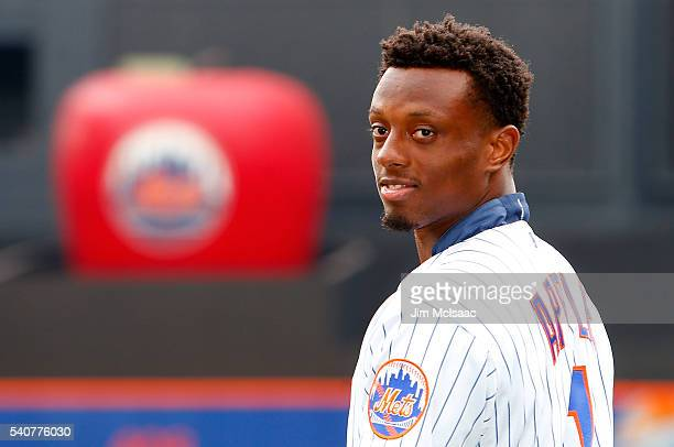 New York Giants first round draft pick Eli Apple poses for a photograph as he attends a game between the New York Mets and the Pittsburgh Pirates at...