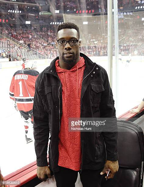 New York Giants Football Player Jason PierrePaul attends Anaheim Ducks Vs New Jersey Devils Game October 18 2016 at Prudential Center on October 18...