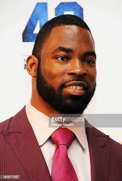 New York Giants football player Justin Tuck attends the 42 event honoring Jackie Robinson at the Brooklyn Academy of Music on March 25 2013 in New...