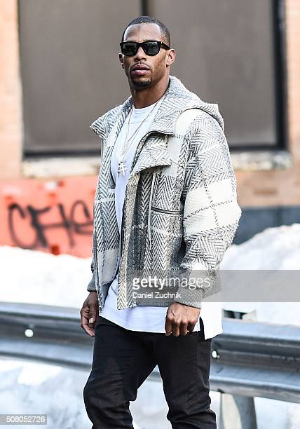 New York Giants Football Player Victor Cruz is seen outside of the Robert Geller show during New York Fashion Week: Men's Fall/Winter 2016 on...