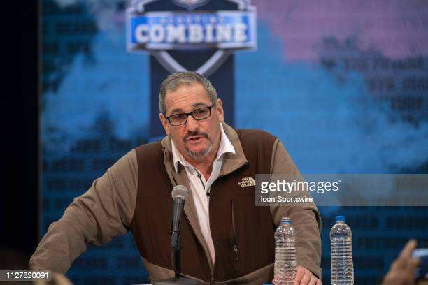 New York Giants general manager Dave Gettleman answers questions from the media during the NFL Scouting Combine on February 27 2019 at the Indiana...