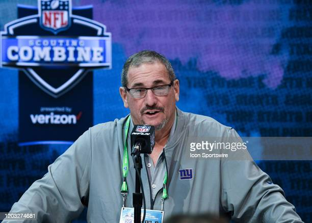 New York Giants general manager Dave Gettleman answers questions from the media during the NFL Scouting Combine on February 25 2020 at the Indiana...