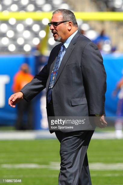 New York Giants general manager Dave Gettleman on the field prior to the National Football League game between the New York Giants and Buffalo Bills...