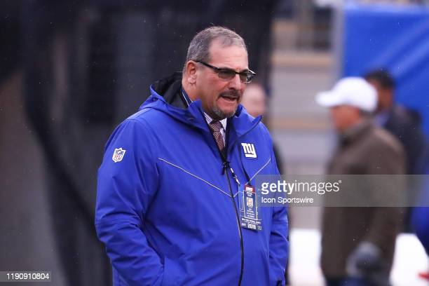 New York Giants general manager Dave Gettleman on the field prior to the National Football League game between the New York Giants and the...