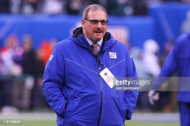 New York Giants general manager Dave Gettleman prior to the National Football League game between the New York Giants and the Philadelphia Eagles on...