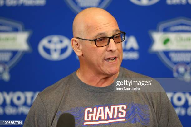 New York Giants General manager Dave Gettleman speaks to the media following New York Giants Training Camp on July 27 2018 at Quest Diagnostics...