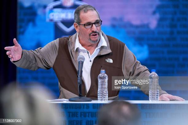 New York Giants general manager Dave Gettleman speaks to the media during the NFL Scouting Combine on February 27 2019 at the Indiana Convention...