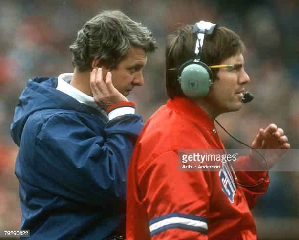 New York Giants head coach Bill Parcells and defensive coordinator Bill Belichick on the sideline in a 21-0 loss to the San Francisco 49ers in the...