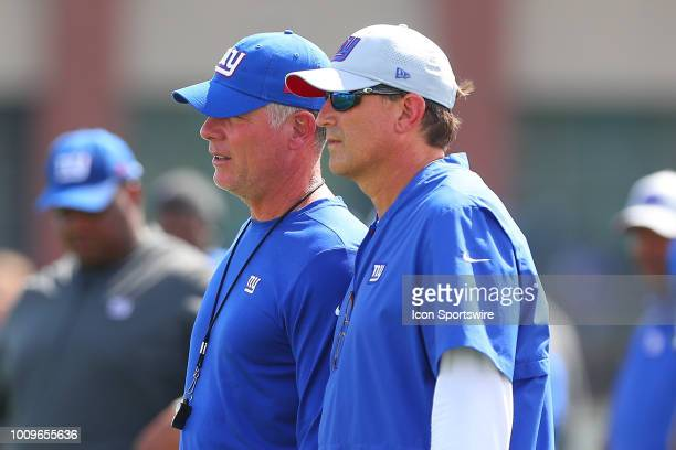 New York Giants head coach Pat Shurmur and New York Giants offensive coordinator Mike Shula during New York Giants Training Camp on August 1 2018 at...