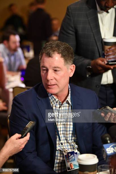 New York Giants head coach Pat Shurmur answers questions during the AFC NFC coaches breakfast at the 2018 NFL Annual Meetings at the Ritz Carlton...