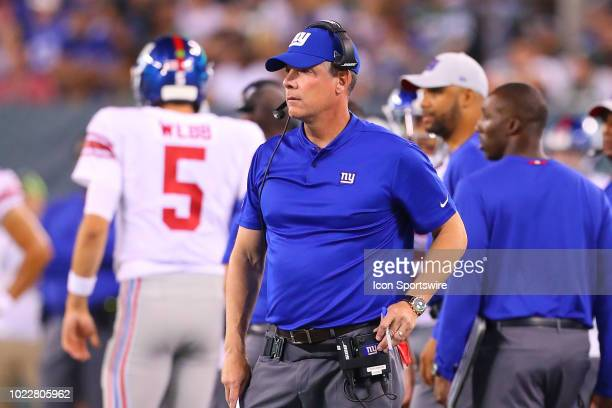 New York Giants head coach Pat Shurmur during the second quarter of the National Football League game between the New York Jets and the New York...