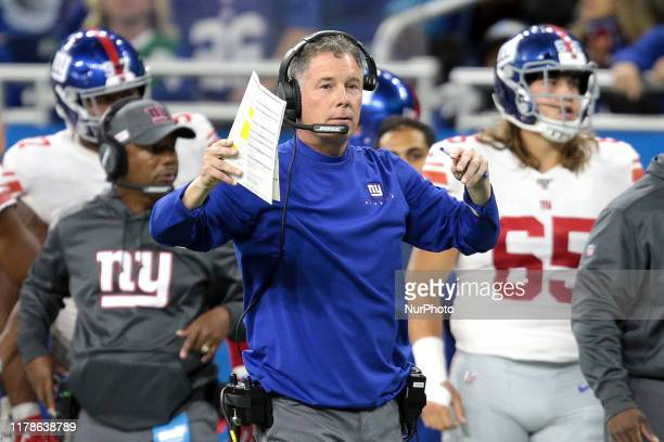 New York Giants head coach Pat Shurmur is seen during the second half of an NFL football game against the Detroit Lions in Detroit Michigan USA on...