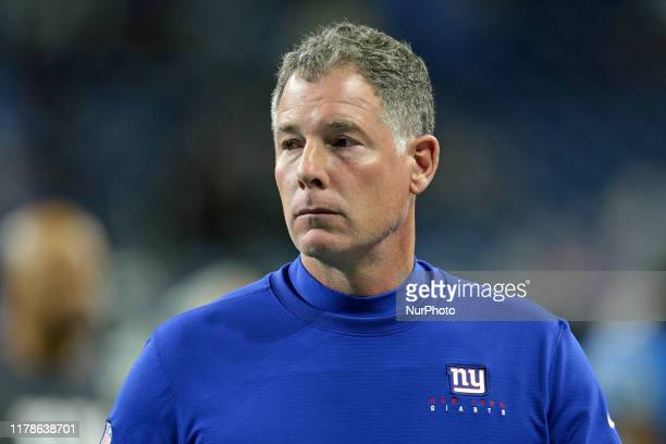 New York Giants head coach Pat Shurmur walks off the field after an NFL football game against the Detroit Lions in Detroit Michigan USA on Sunday...