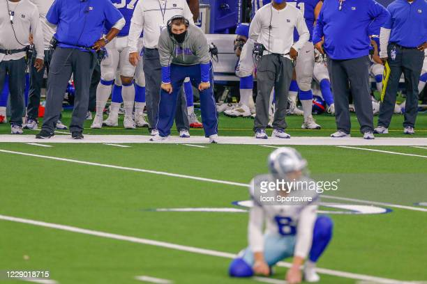 New York Giants Head Couch Joe Judge looks on prior to the game winning field goal attampt during the NFL game between the New York Giants and Dallas...