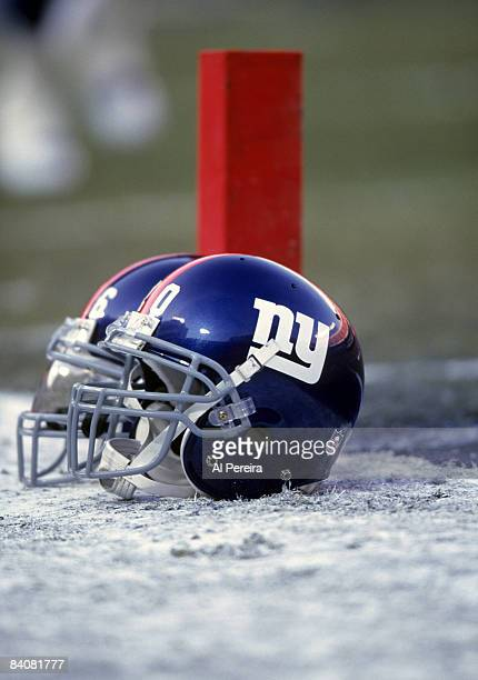 New York Giants helmets sit on the sidelines before the NFC Divisional Playoff a 2010 Giants victory over the Philadelphia Eagles on January 7 at...