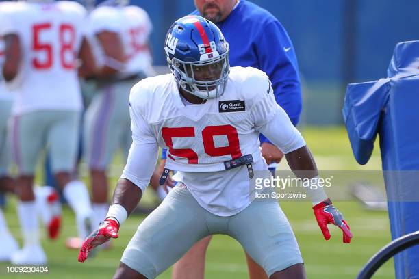 New York Giants linebacker Lorenzo Carter during a tackling drill during New York Giants Training Camp on August 1 2018 at Quest Diagnostics Training...