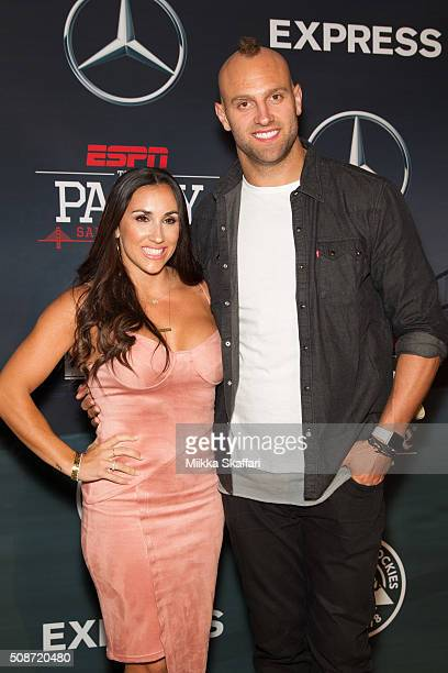 New York Giants linebacker Mark Herzlich and his wife Danielle Conti arrive at the annual ESPN The Party at Fort Mason Center on February 5 2016 in...