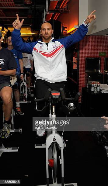 New York Giants Linebacker Mark Herzlich cycles at 2012 Cycle For Survival - Day 2 at Equinox Graybar on February 12, 2012 in New York City.