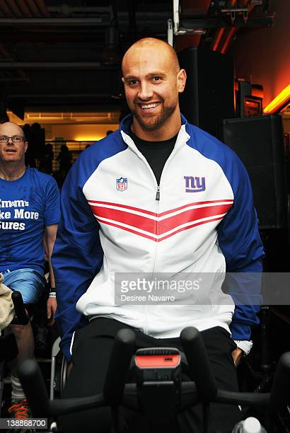 New York Giants Linebacker Mark Herzlich cycles at the 2012 Cycle For Survival Day 2 at Equinox Graybar on February 12 2012 in New York City