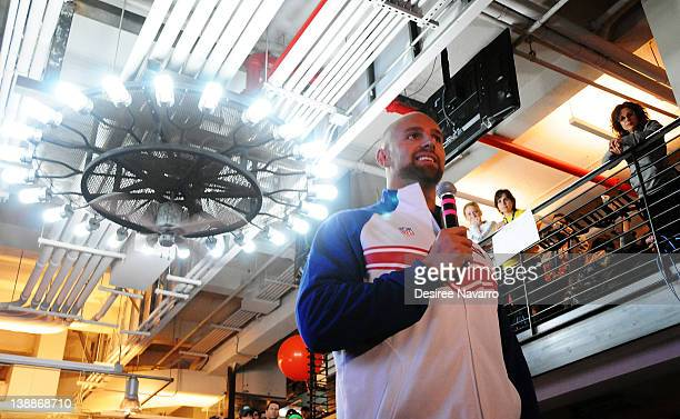New York Giants Linebacker Mark Herzlich speaks at the 2012 Cycle For Survival Day 2 at Equinox Graybar on February 12 2012 in New York City