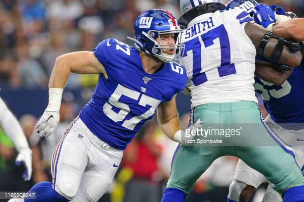 New York Giants Linebacker Ryan Connelly runs around the edge during the game between the New York Giants and the Dallas Cowboys on September 8 2019...