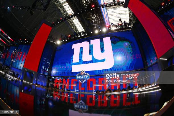 New York Giants logo on the video screen during the second round of the 2018 NFL Draft on April 27 at ATT Stadium in Arlington TX