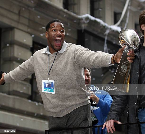 New York Giants Michael Strahan during the New York Giants Victory Parade in lower Manhattan on February 5 2008 in New York City