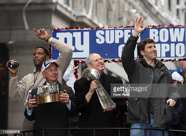 New York Giants Michael Strahan Mayor Michael bloomberg Giants Head Coach Tom Coughlin and Giants Quarterback Eli Manning during the New York Giants...