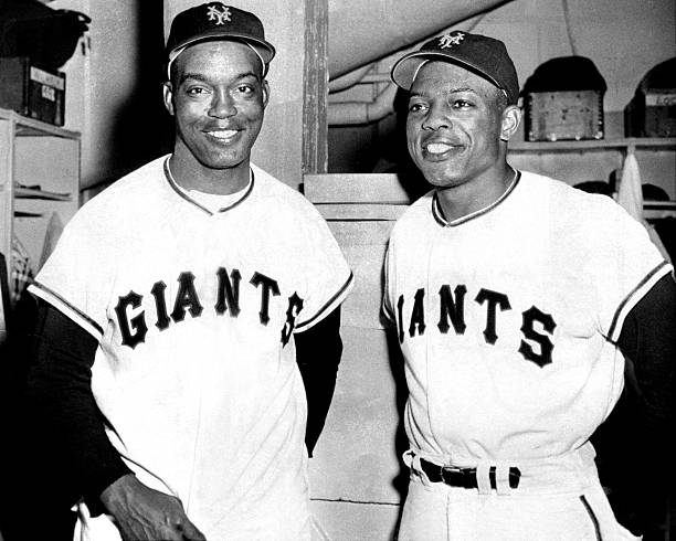 New York Giants' Monte Irvin (l.) and Willie Mays.