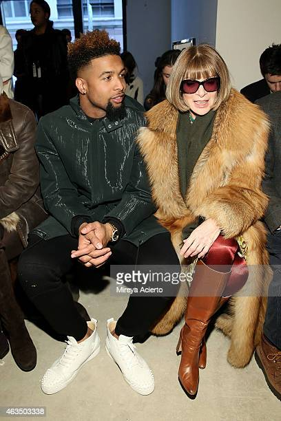 New York Giants Odell Beckham and Vogue magazine editor Anna Wintour attend Public School runway show during MADE Fashion Week Fall 2015 at Studio...