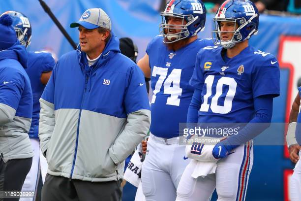 New York Giants offensive coordinator Mike Shula prior to the National Football League game between the New York Giants and the Miami Dolphins on...