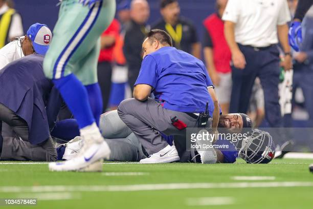 New York Giants offensive guard Jon Halapio is injured during the game between the New York Giants and Dallas Cowboys on September 16 2018 at ATT...