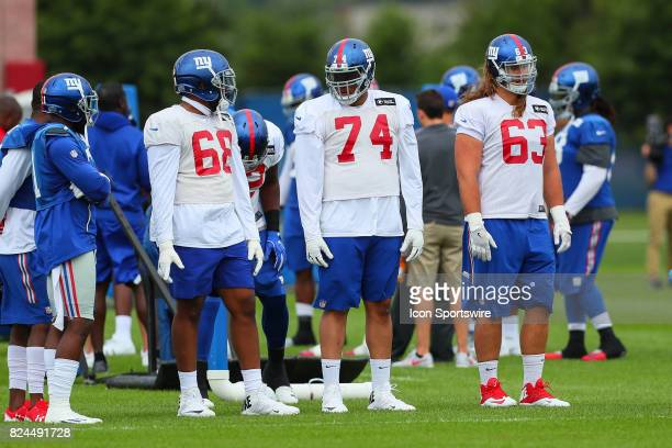 New York Giants offensive tackle Bobby Hart ,New York Giants offensive tackle Ereck Flowers and New York Giants offensive tackle Chad Wheeler during...