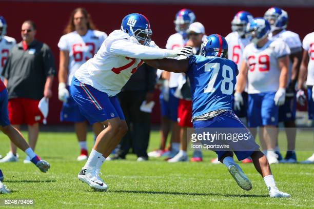 New York Giants offensive tackle Ereck Flowers battles New York Giants defensive end Romeo Okwara during 2017 New York Giants Training Camp on July...
