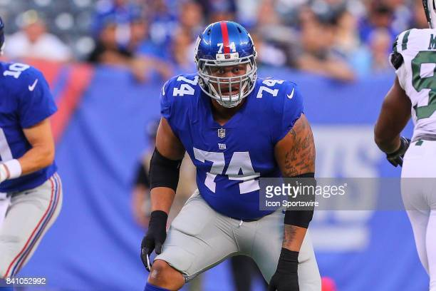 New York Giants offensive tackle Ereck Flowers during the National Football League preseason game between the New York Giants and the New York Jets...