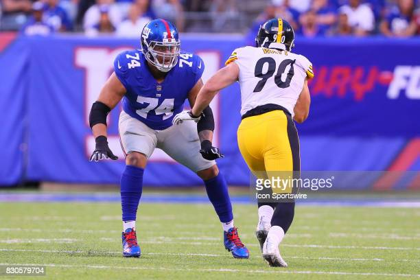 New York Giants offensive tackle Ereck Flowers during the Preseason National Football League game between the New York Giants and the Pittsburgh...